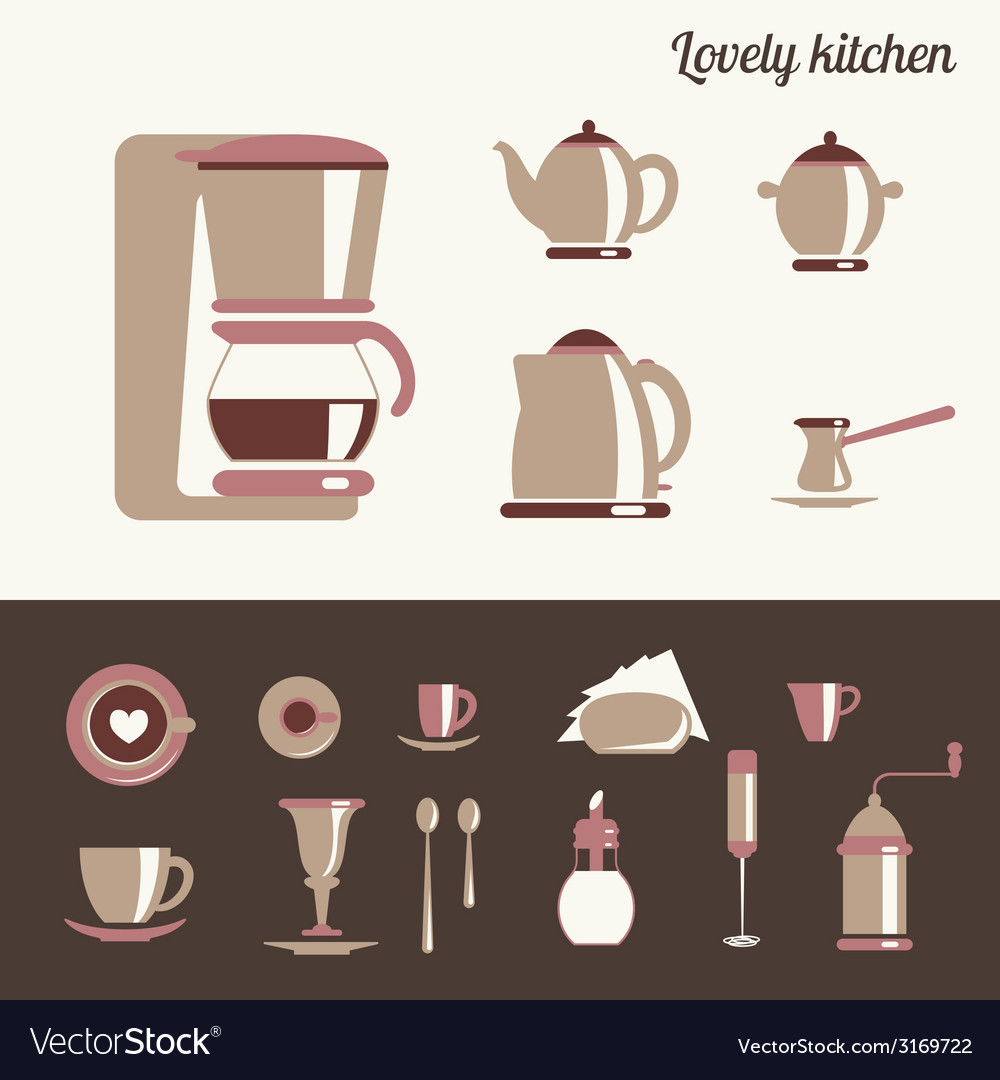 Kitchen utensil for coffee and tea vector | Price: 1 Credit (USD $1)