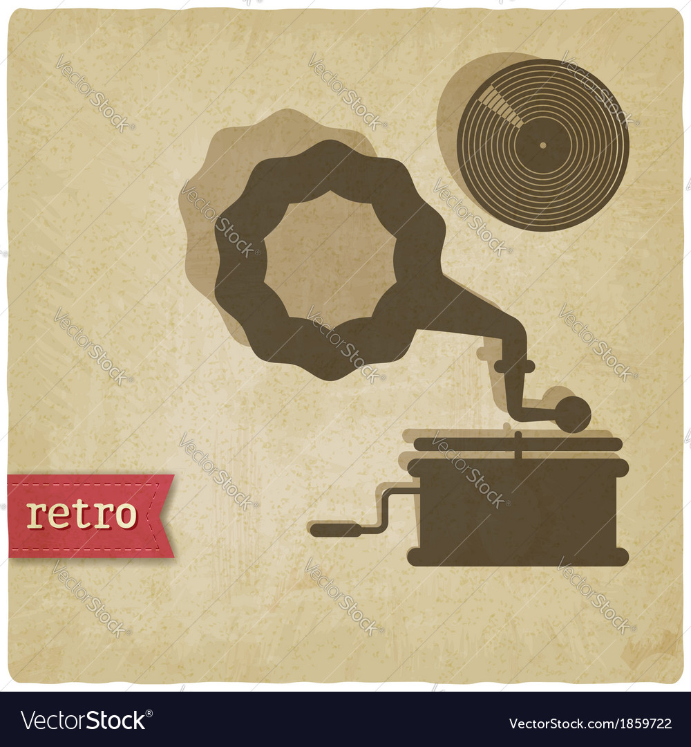 Old background with gramophone and record vector | Price: 1 Credit (USD $1)