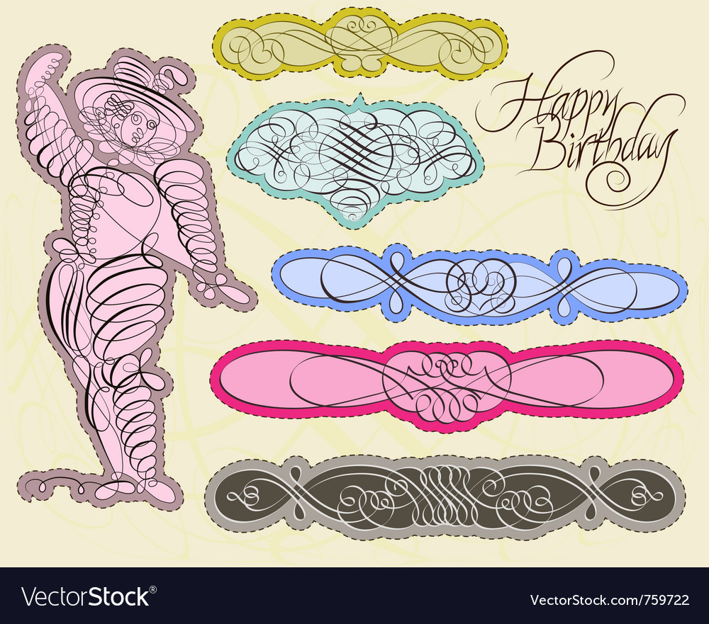 Set with exquisite calligraphic and ornamental des vector | Price: 1 Credit (USD $1)