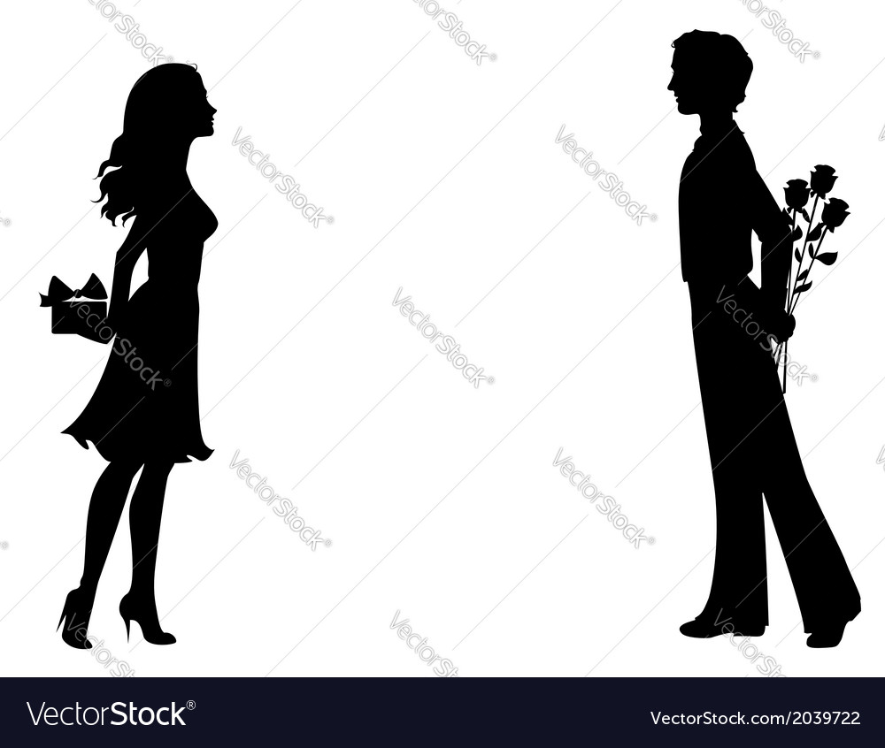 Silhouettes of man and woman with gifts vector | Price: 1 Credit (USD $1)