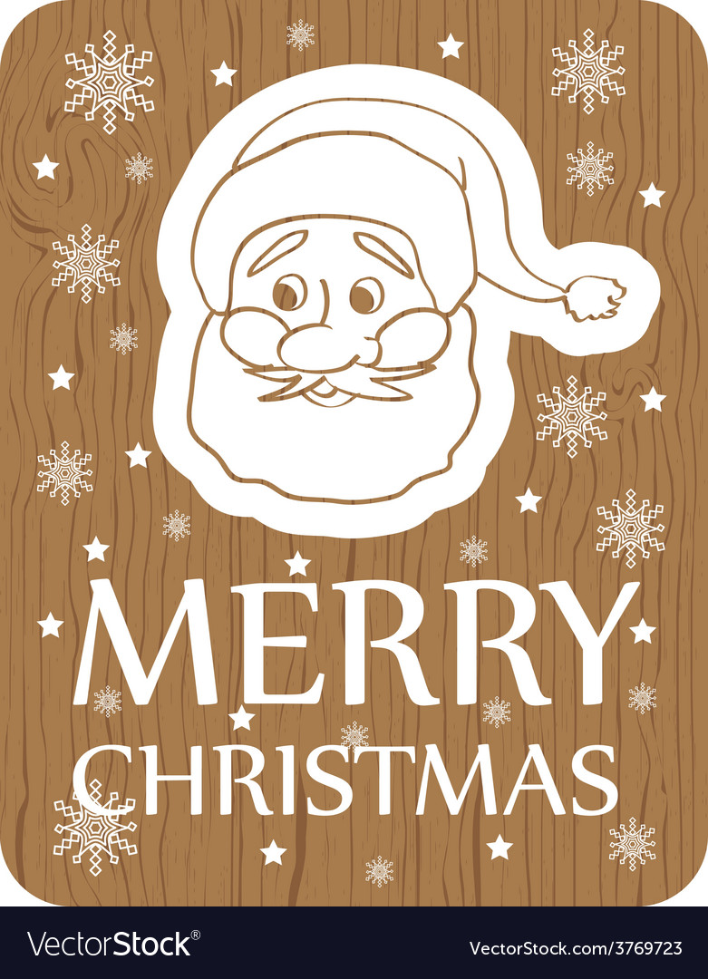 Christmas card with santa on wood background vector | Price: 1 Credit (USD $1)