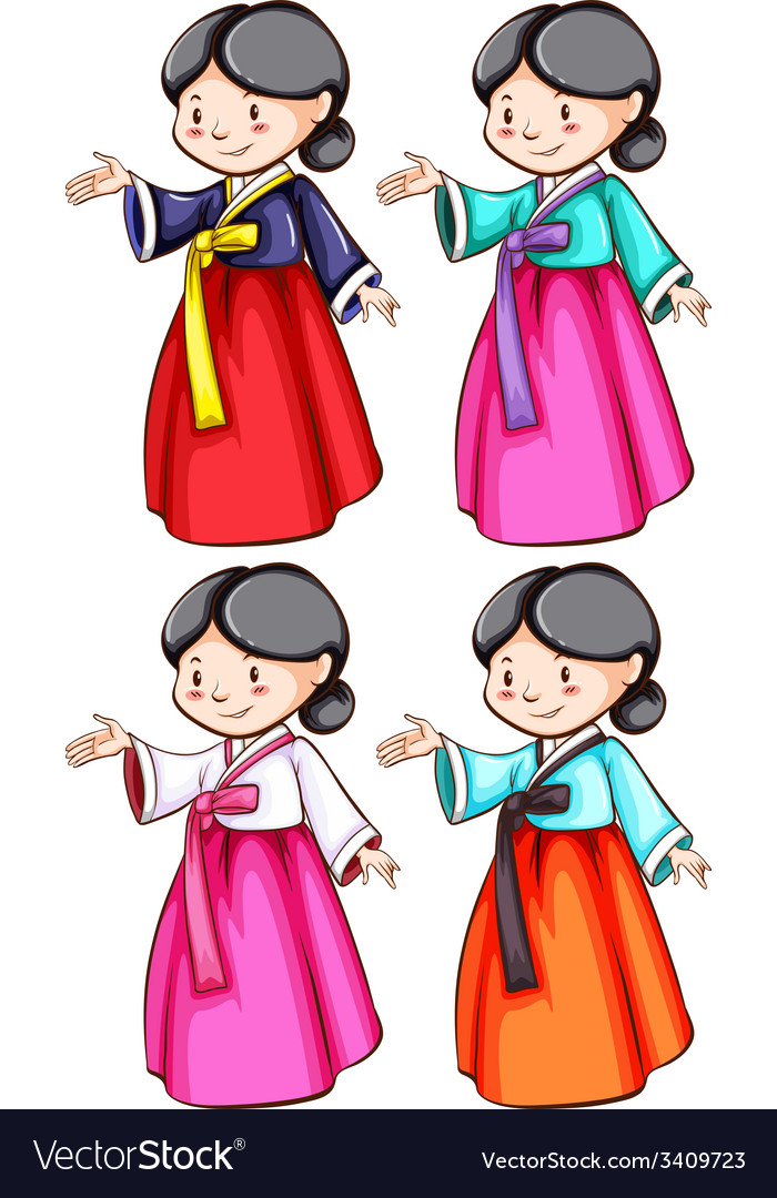 Females wearing the asian costumes vector   Price: 3 Credit (USD $3)