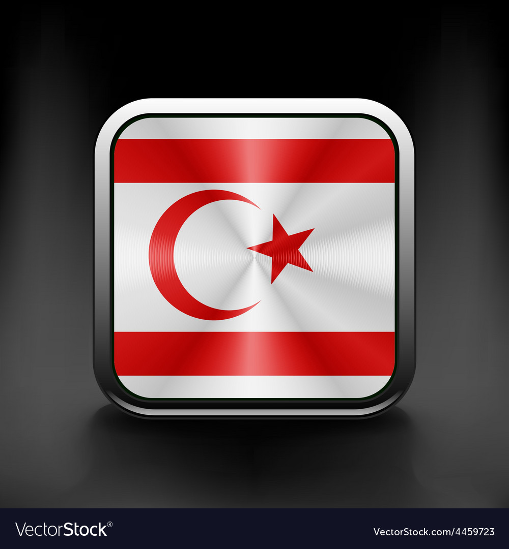 Flag button of turkish republic of north cyprus vector | Price: 1 Credit (USD $1)