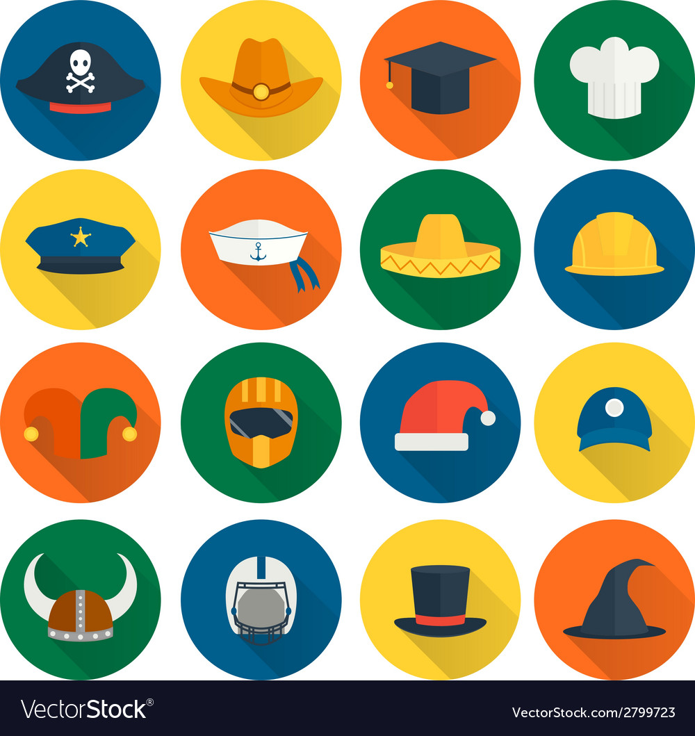 Hat flat icons vector | Price: 1 Credit (USD $1)