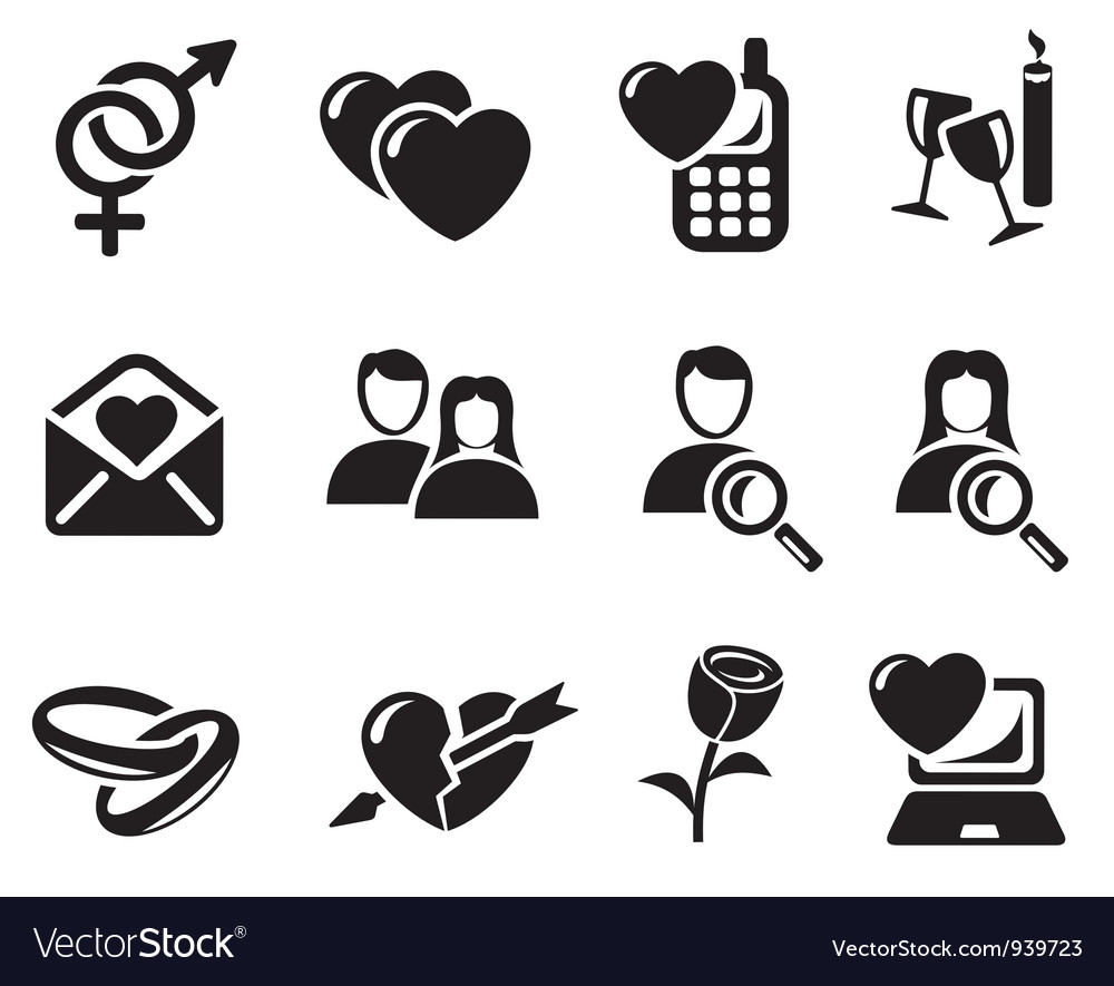 Love and dating icons vector | Price: 1 Credit (USD $1)