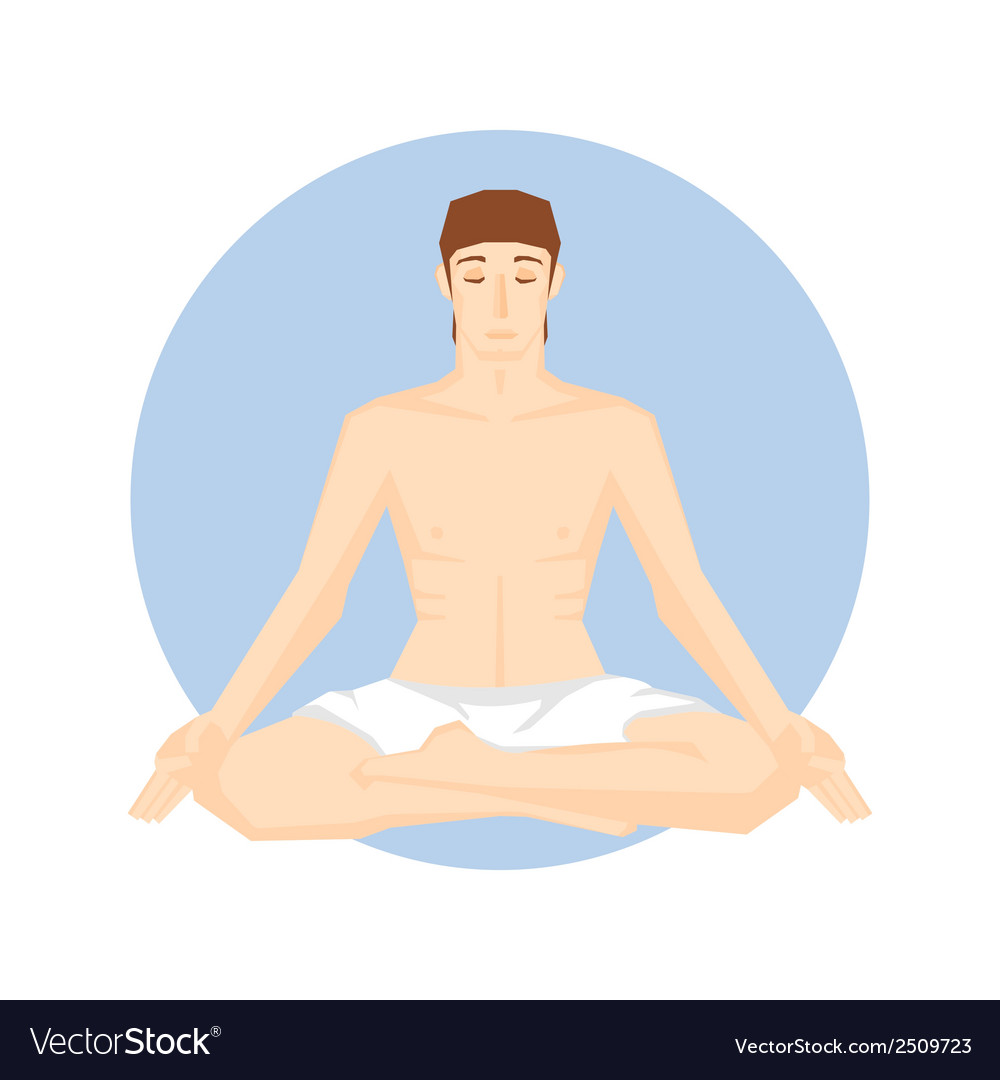 Man sitting in the yoga pose vector | Price: 1 Credit (USD $1)