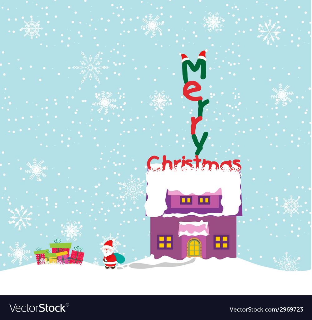 Merry christmas background with santa claus vector   Price: 1 Credit (USD $1)