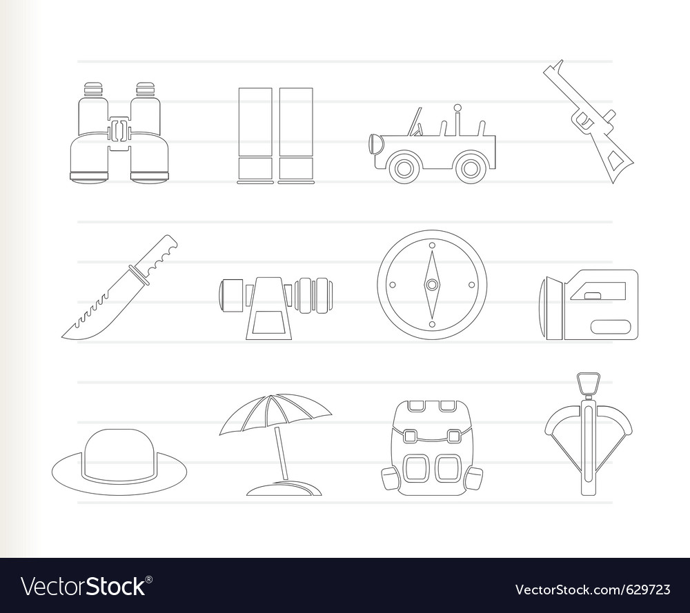 Safari and hunting icons vector | Price: 1 Credit (USD $1)