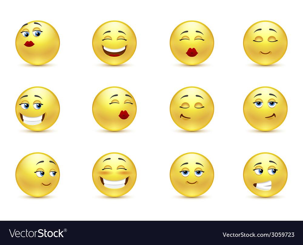 Set beautiful smiles vector   Price: 1 Credit (USD $1)