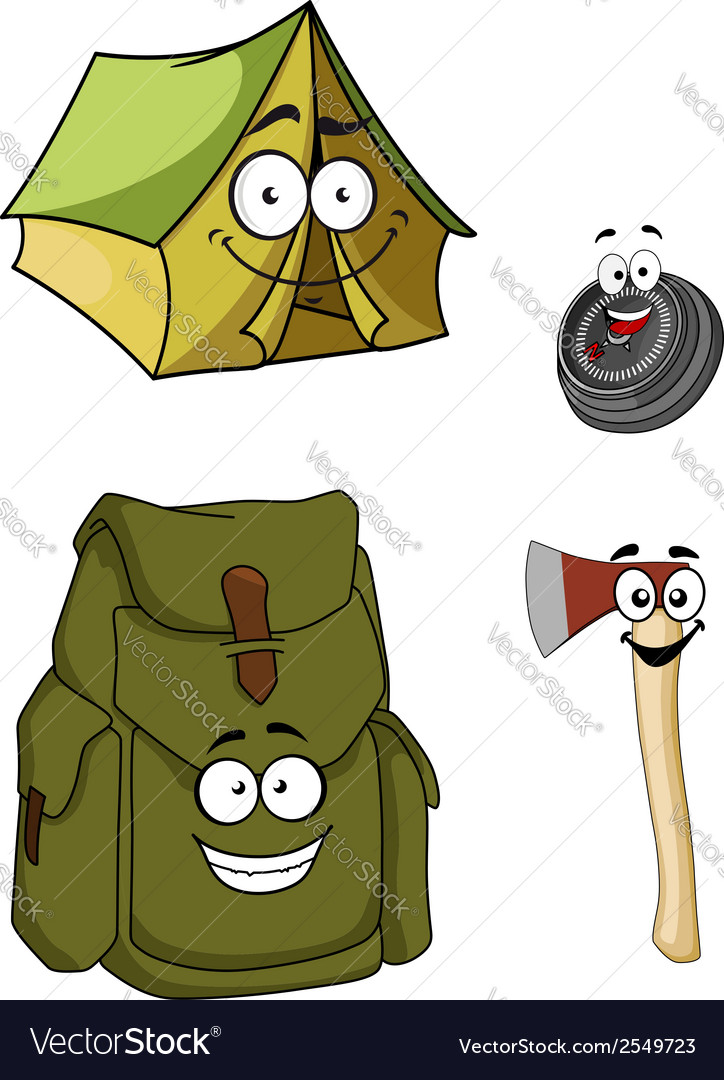 Set of cartoon camping and hiking icons vector | Price: 1 Credit (USD $1)