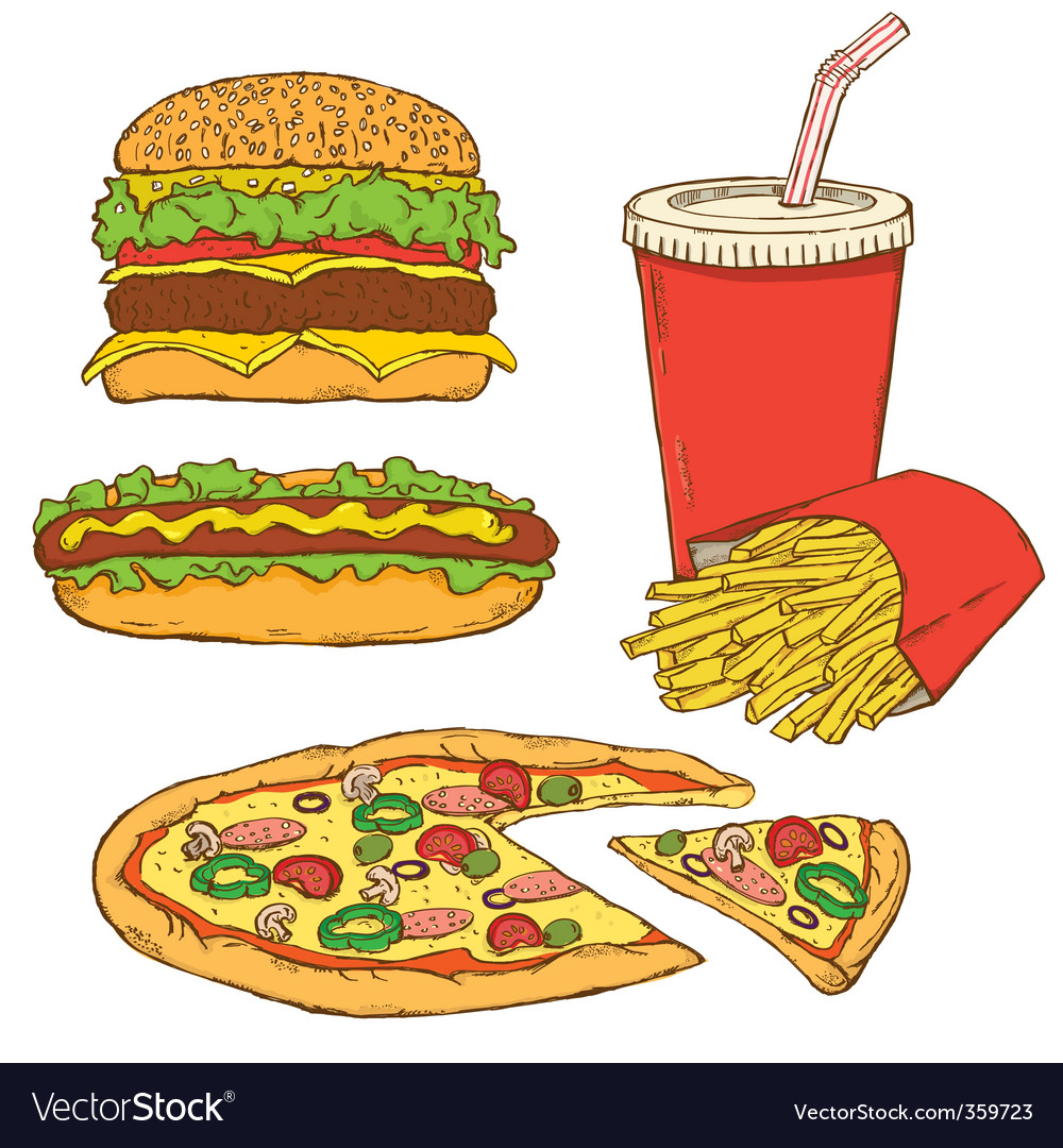 Set of fast food v vector | Price: 1 Credit (USD $1)