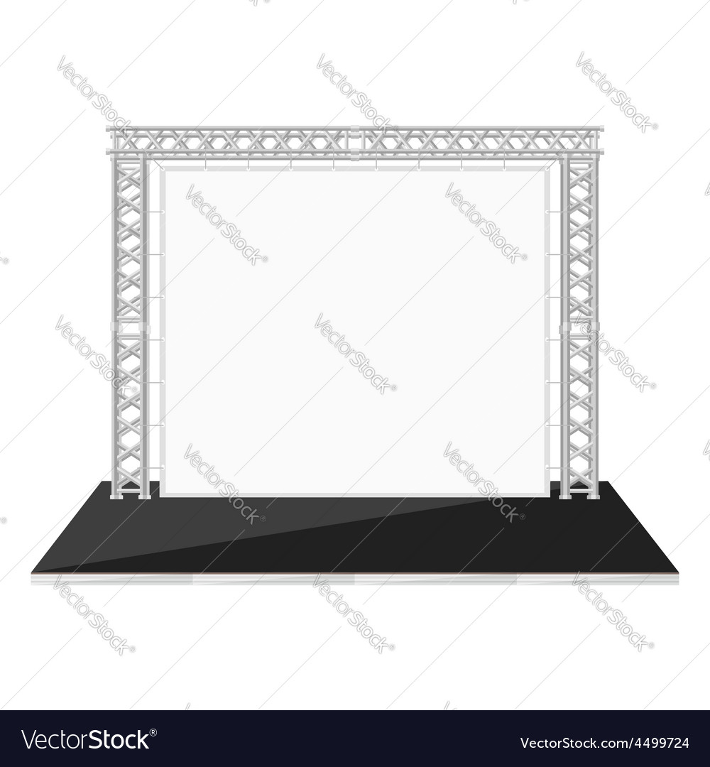 Black color flat style low stage with banner on vector | Price: 1 Credit (USD $1)