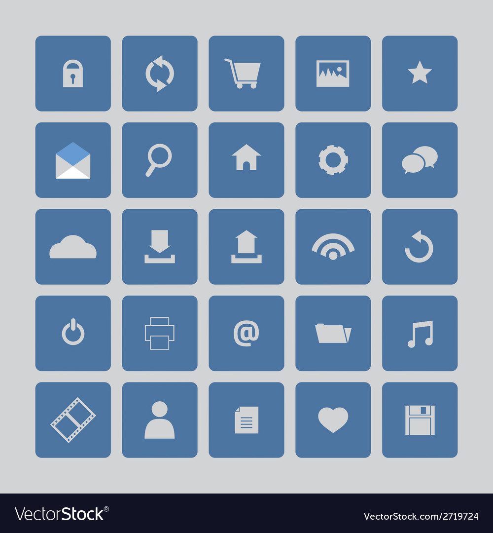 Blue website icons set vector | Price: 1 Credit (USD $1)