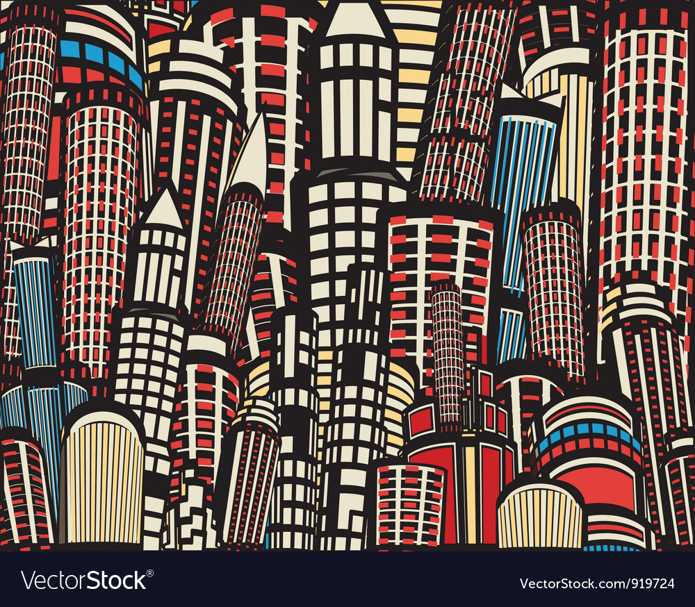 Colorful cartoon city vector | Price: 1 Credit (USD $1)