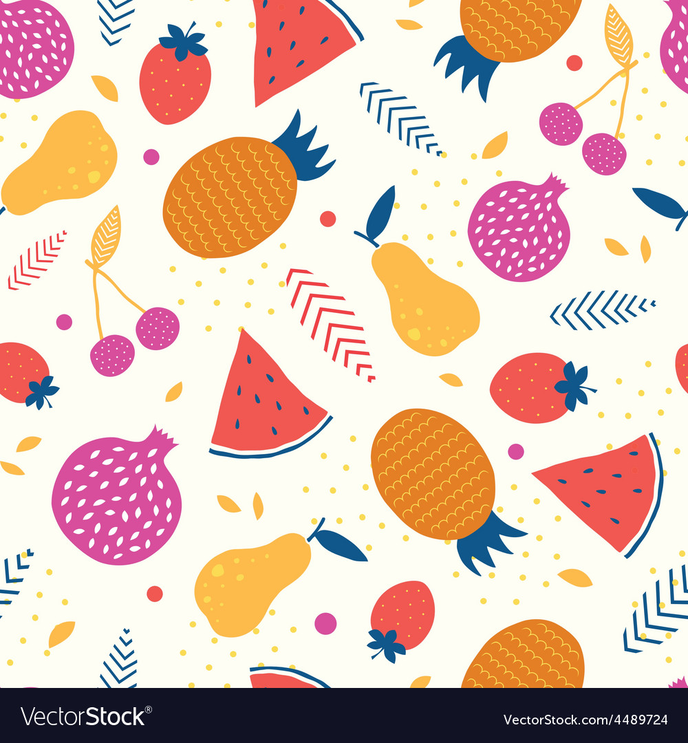 Colorful tasty fruit seamless pattern vector | Price: 1 Credit (USD $1)