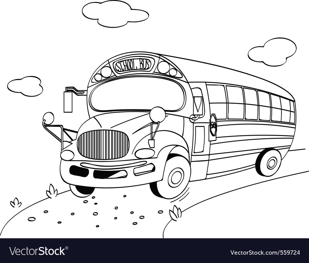 Coloring page of a school bus vector | Price: 1 Credit (USD $1)