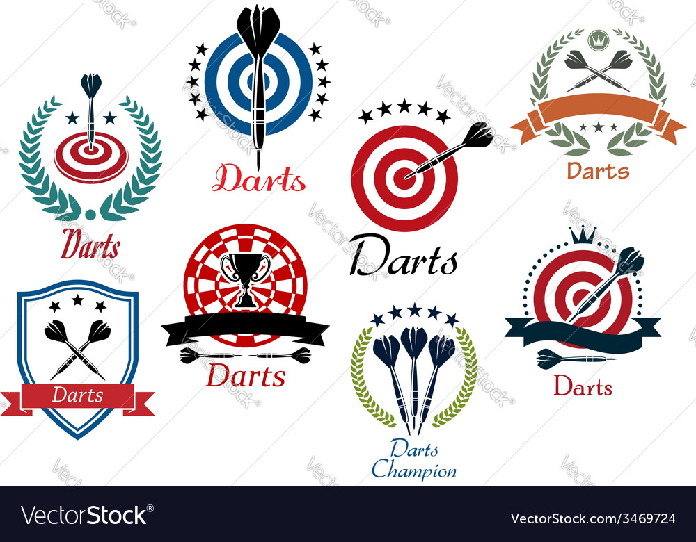 Darts sporting emblems symbols and icons vector | Price: 1 Credit (USD $1)