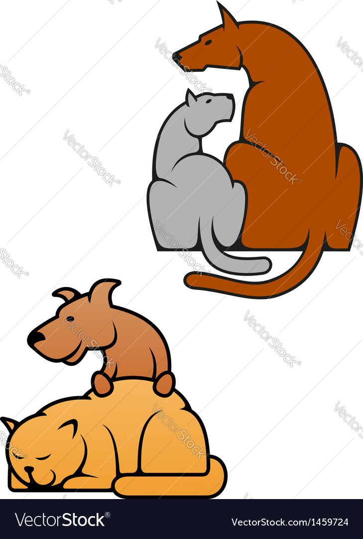 Domestic pets cat and dog vector | Price: 1 Credit (USD $1)