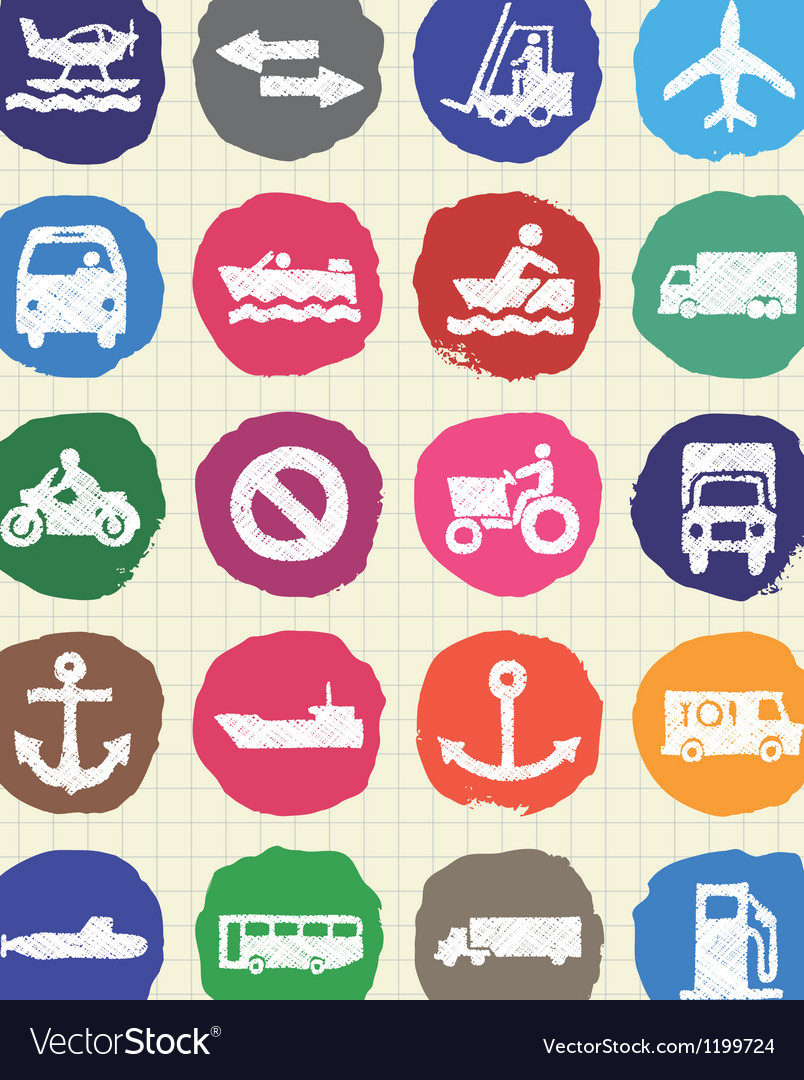 Sea work road transport and signs drawn by chalk vector   Price: 1 Credit (USD $1)