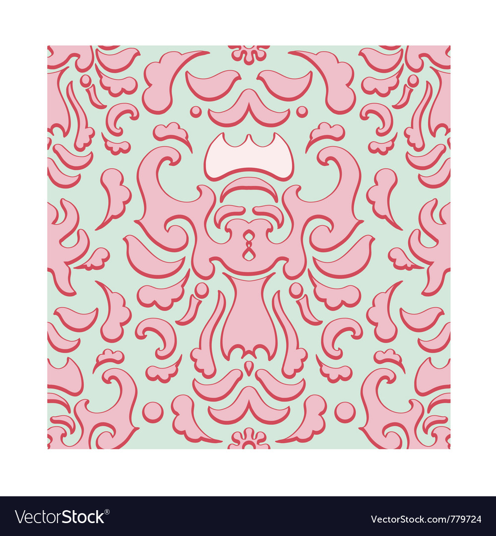 Seamless strawberry pavlova damask pattern vector | Price: 1 Credit (USD $1)
