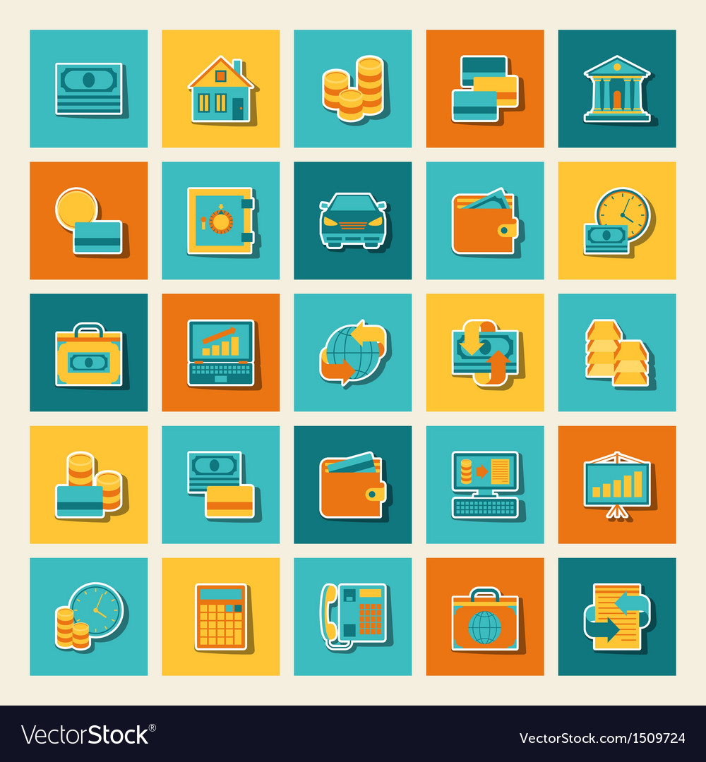 Set of business and banking icons vector | Price: 1 Credit (USD $1)
