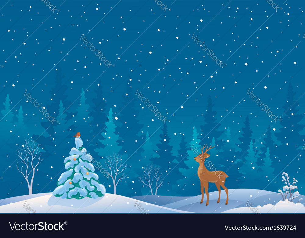 Snow scene vector | Price: 1 Credit (USD $1)