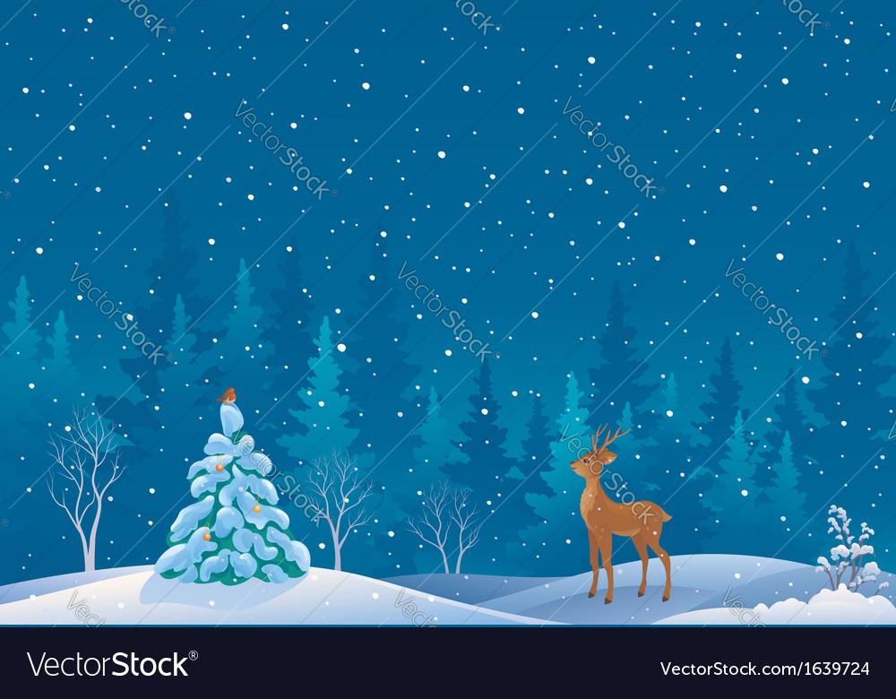 Snow scene vector | Price: 1 Credit (USD $1)