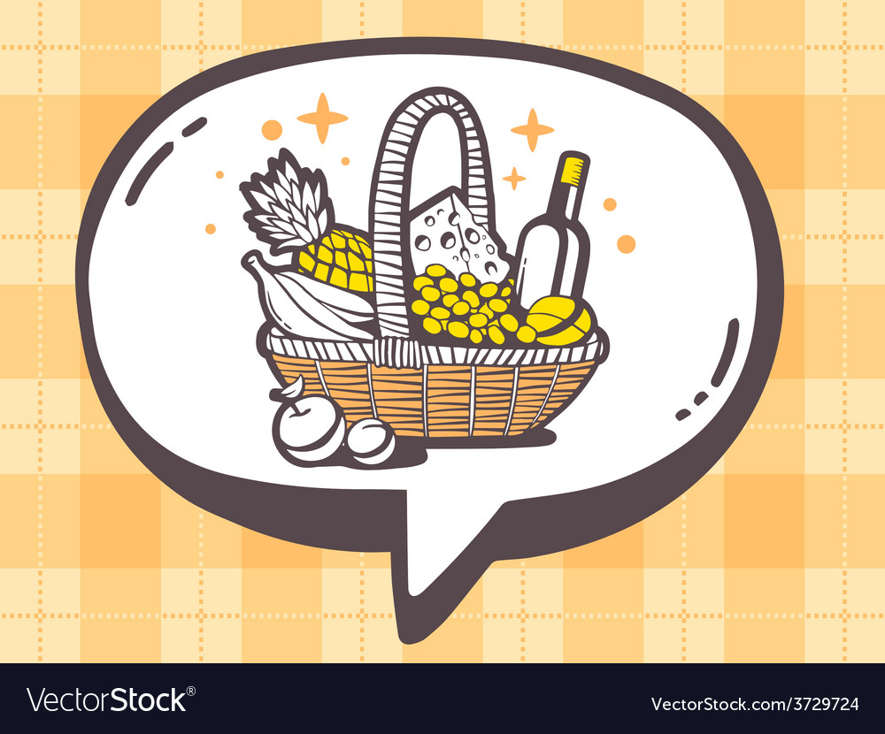 Speech bubble with icon of basket with fo vector | Price: 1 Credit (USD $1)