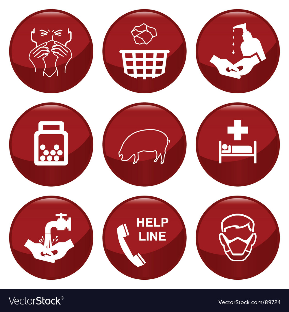 Swine flue icons vector | Price: 1 Credit (USD $1)