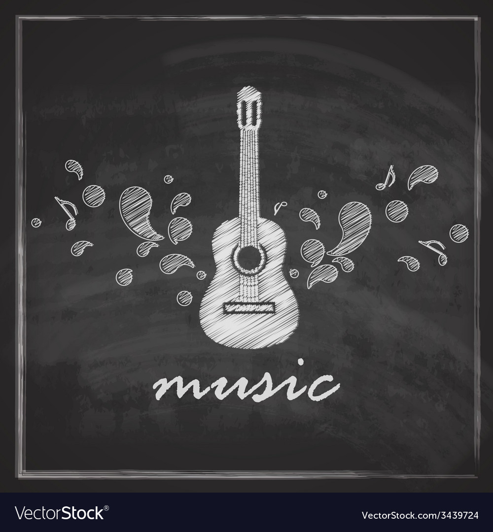 Vintage with the guitar on blackboard background vector | Price: 1 Credit (USD $1)