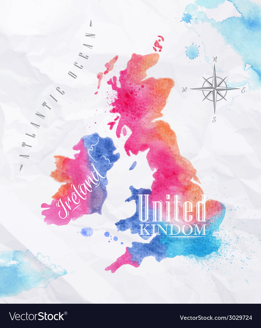 Watercolor map united kingdom and scotland pink vector | Price: 1 Credit (USD $1)