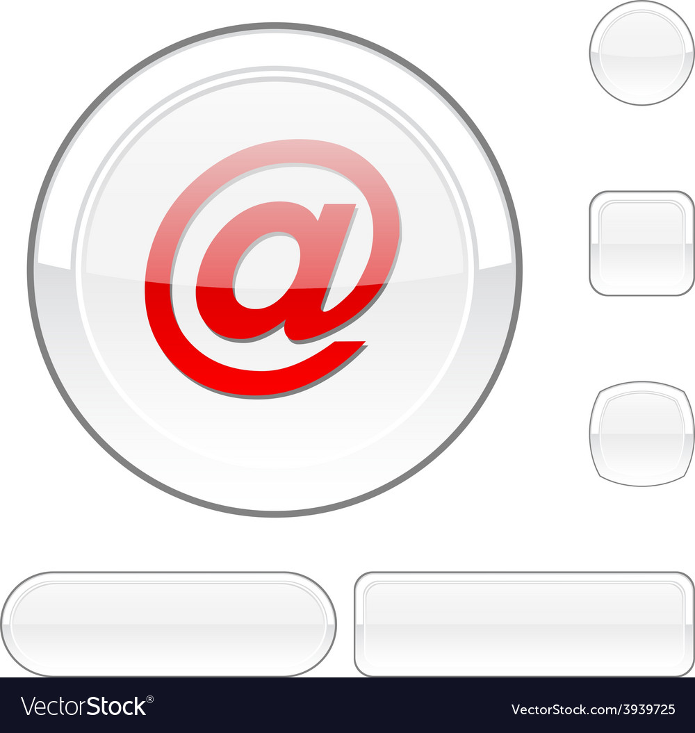 Arroba white button vector | Price: 1 Credit (USD $1)