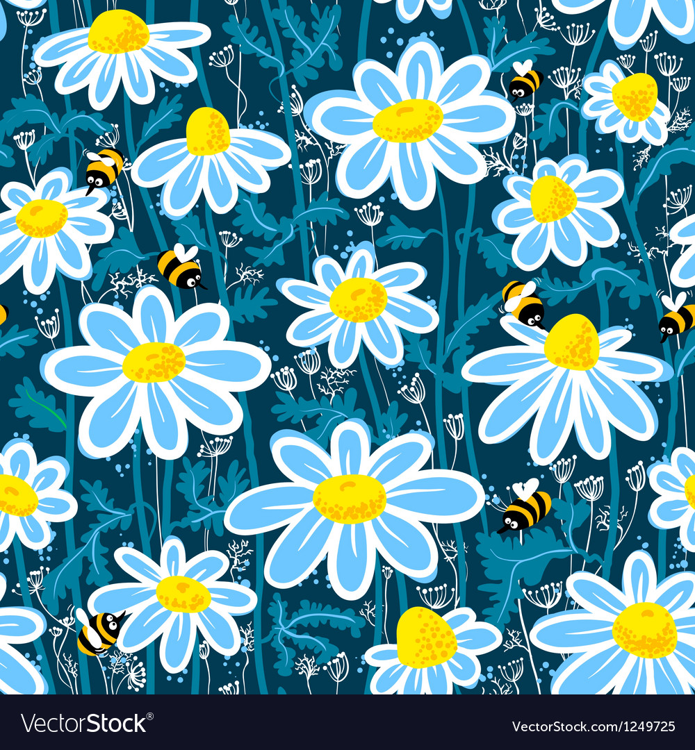 Bees and camomile vector | Price: 1 Credit (USD $1)