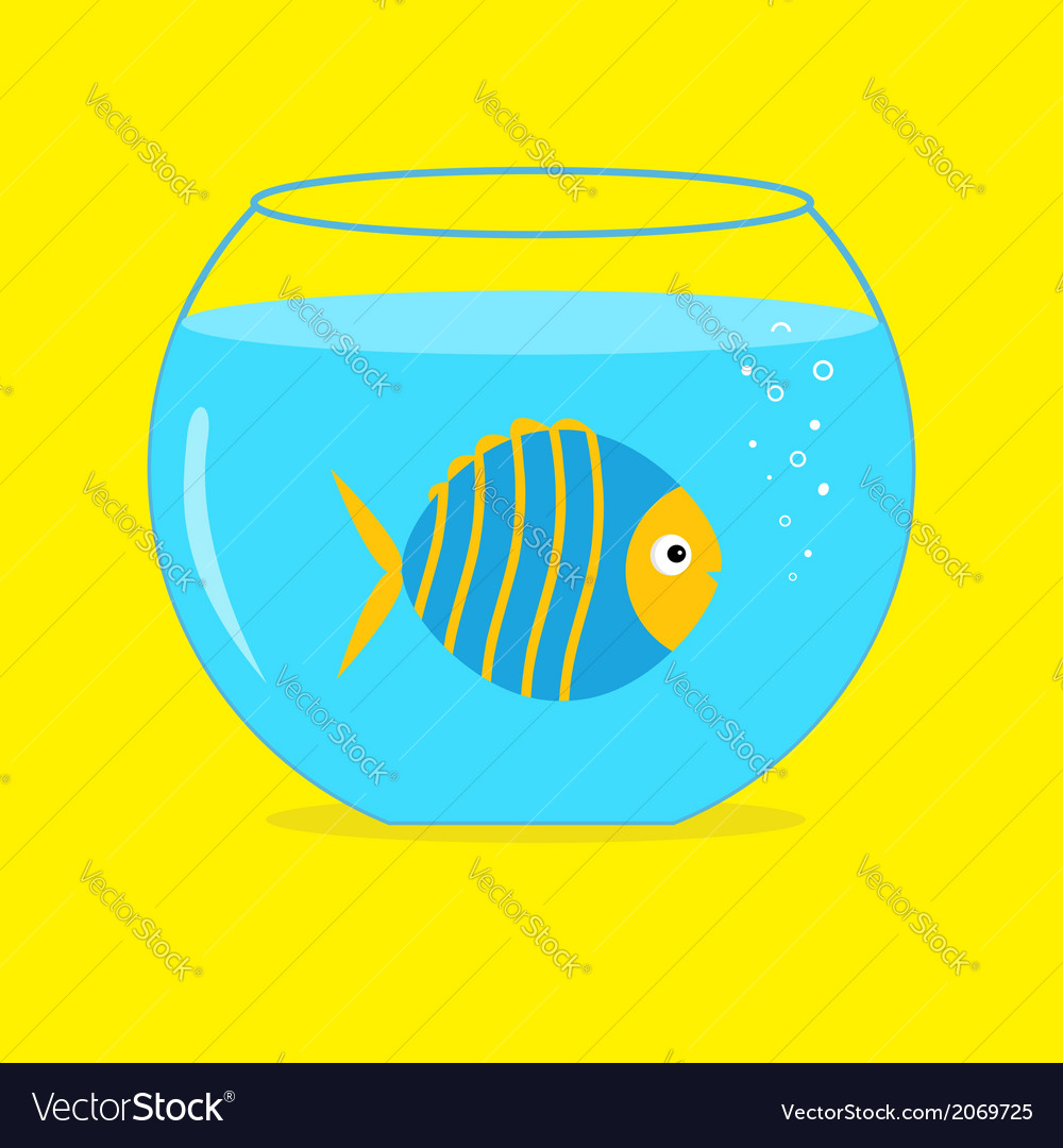 Blue fish in the aquarium card vector | Price: 1 Credit (USD $1)