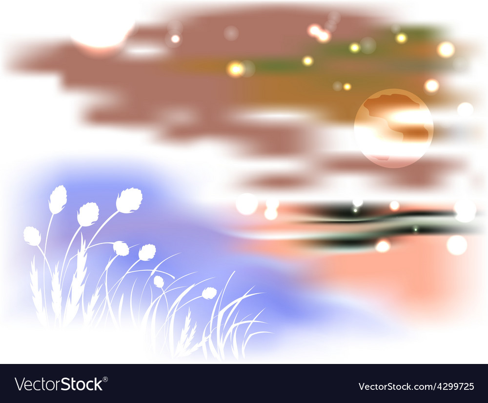 Bright night landscape with lake and reeds in the vector | Price: 1 Credit (USD $1)