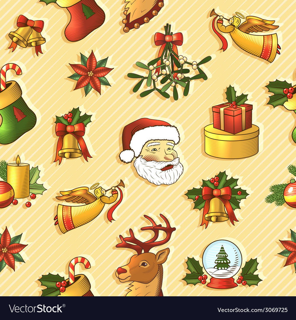 Christmas seamless pattern vector   Price: 1 Credit (USD $1)