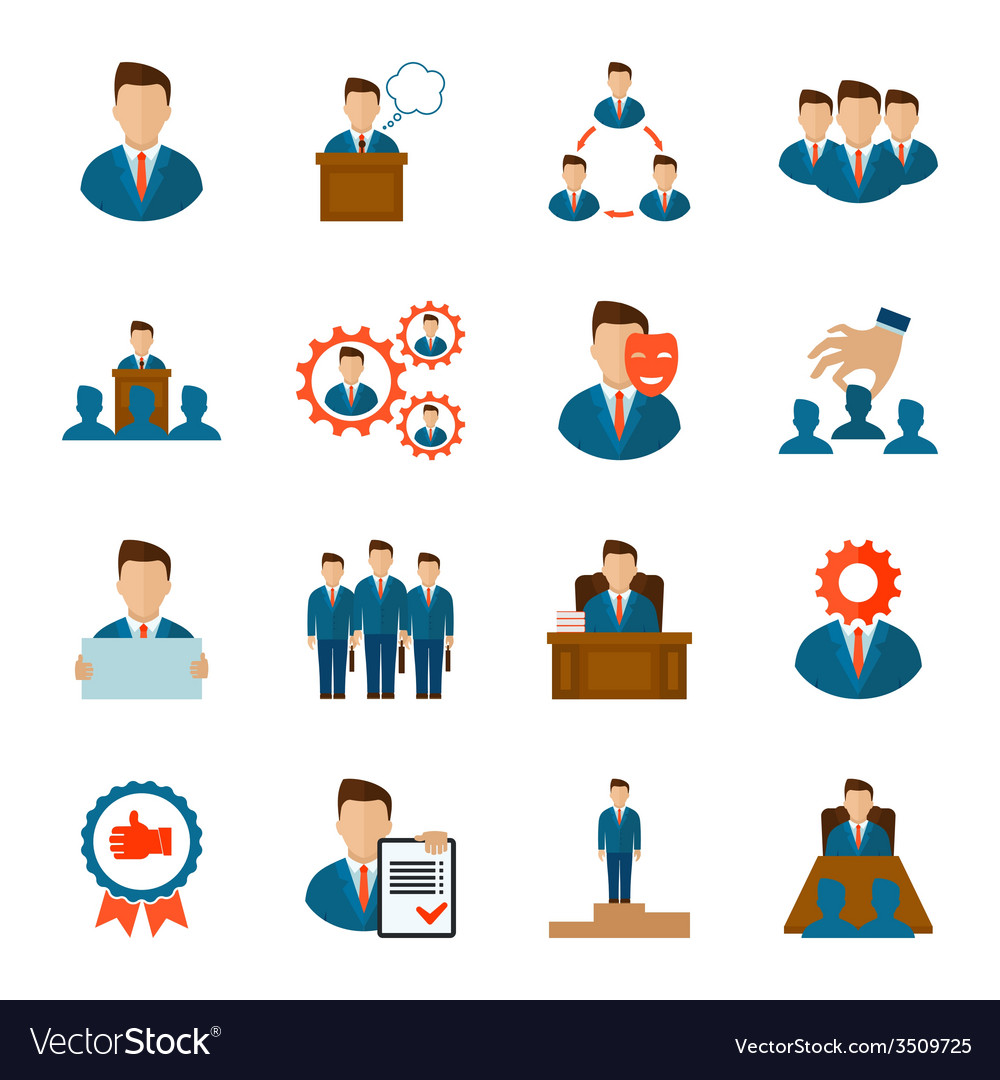 Executive icons flat vector | Price: 1 Credit (USD $1)