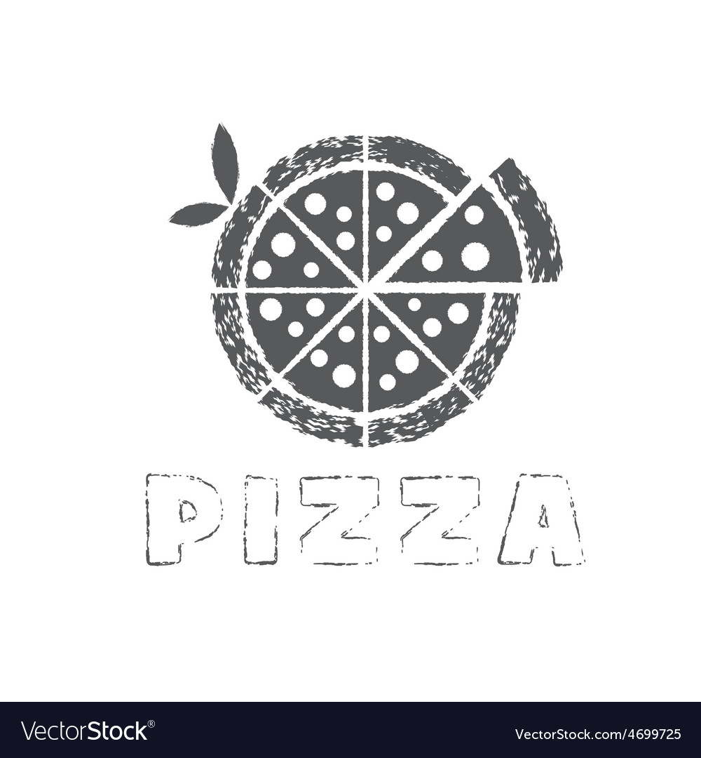 Grunge pizza with leaves design template vector | Price: 1 Credit (USD $1)
