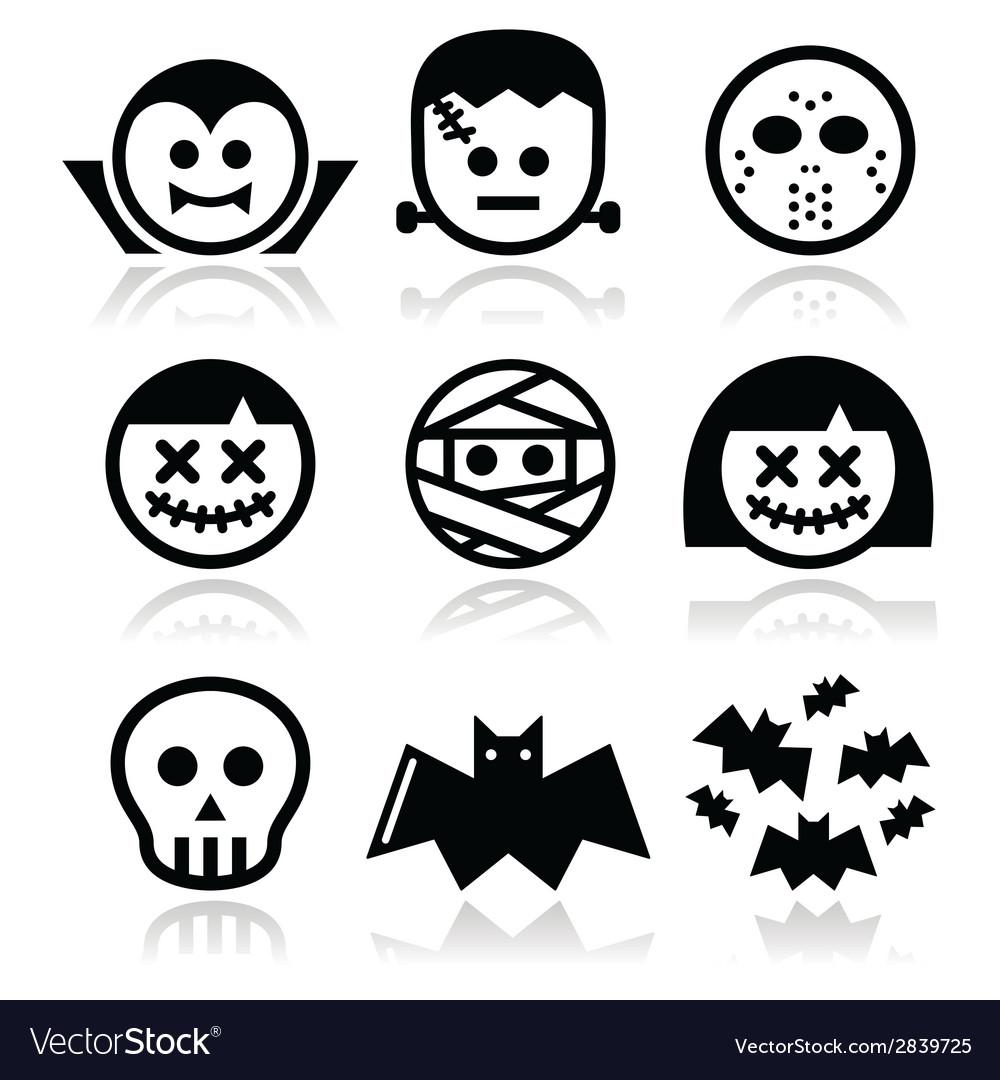 Halloween characters - dracula frankenstein mumm vector | Price: 1 Credit (USD $1)