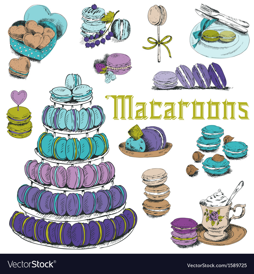 Macaroons and and dessert collection vector | Price: 1 Credit (USD $1)