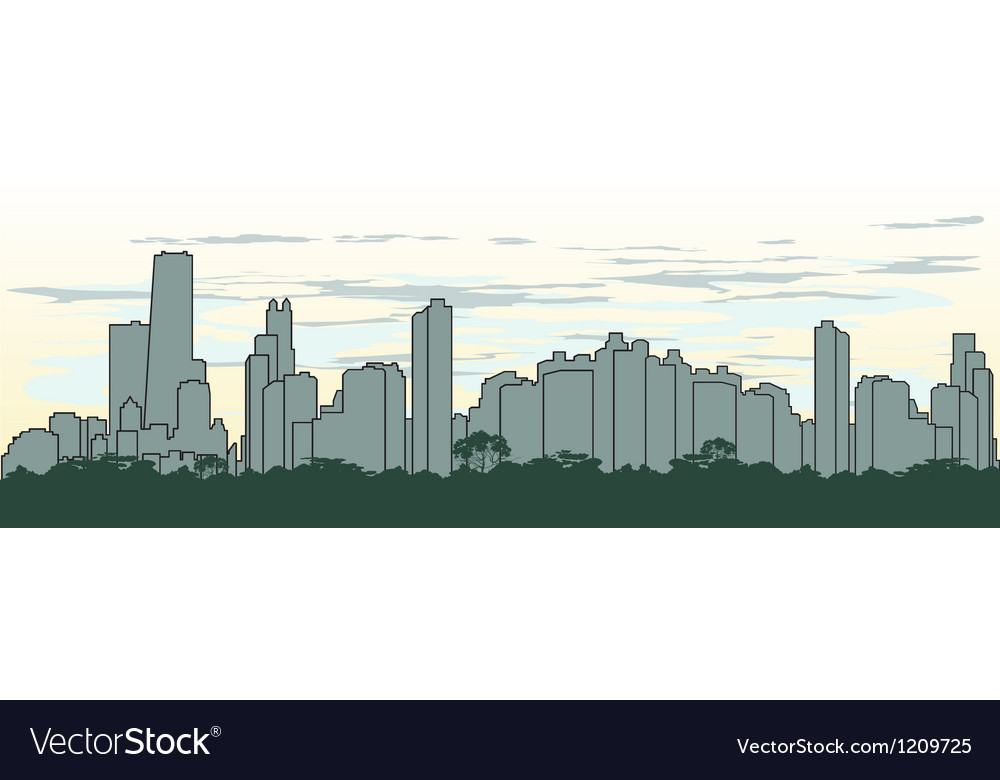 Outline silhouette of the city in green color vector | Price: 1 Credit (USD $1)