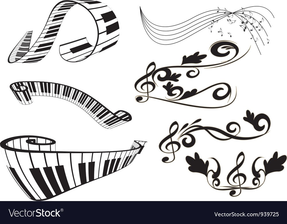 Piano key board and key notes vector | Price: 1 Credit (USD $1)