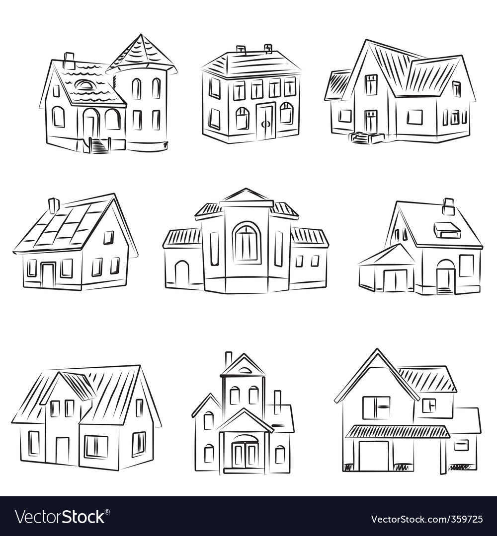 Set of houses v vector | Price: 1 Credit (USD $1)