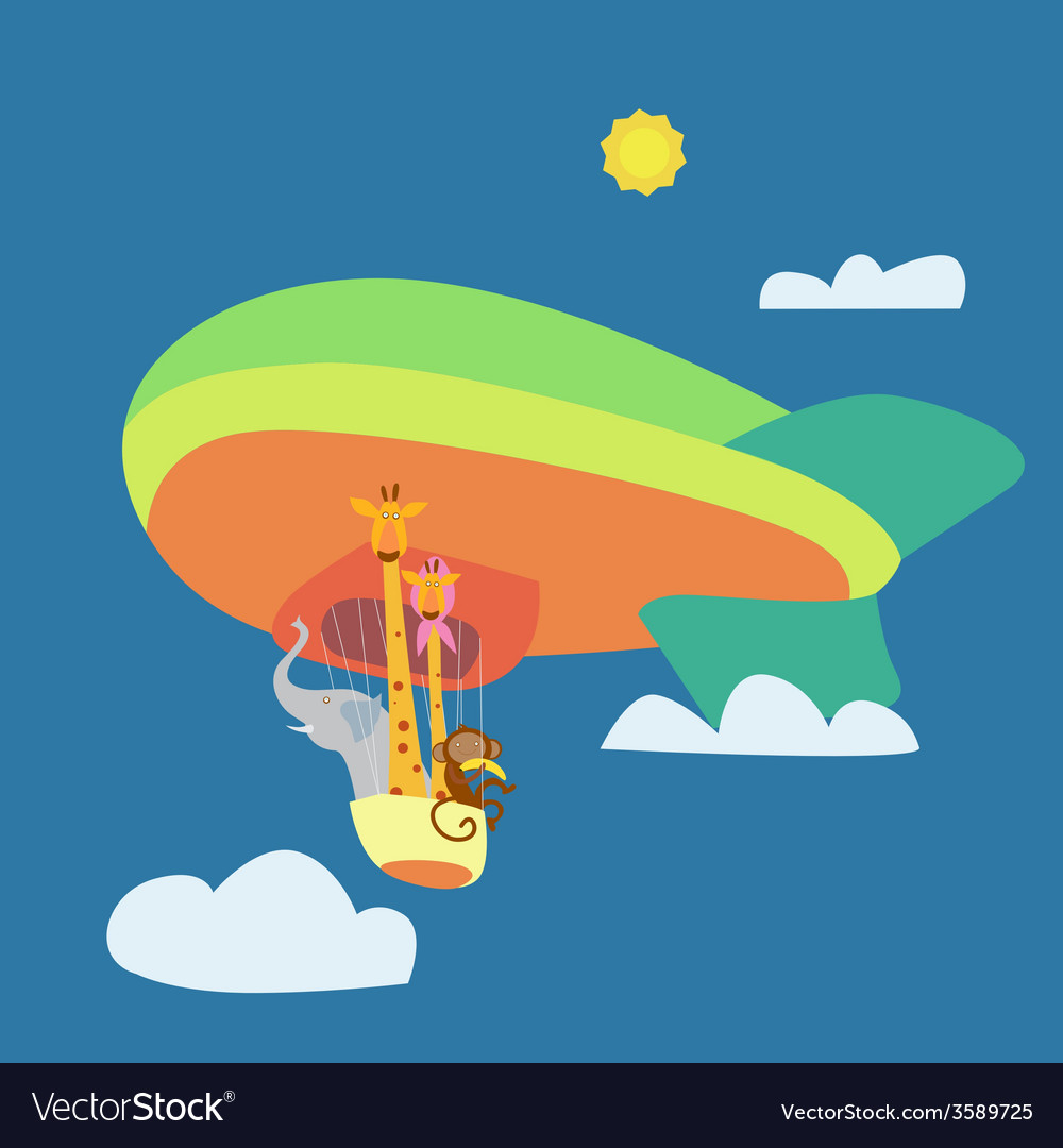 Sky trip with cartoon animals vector | Price: 1 Credit (USD $1)