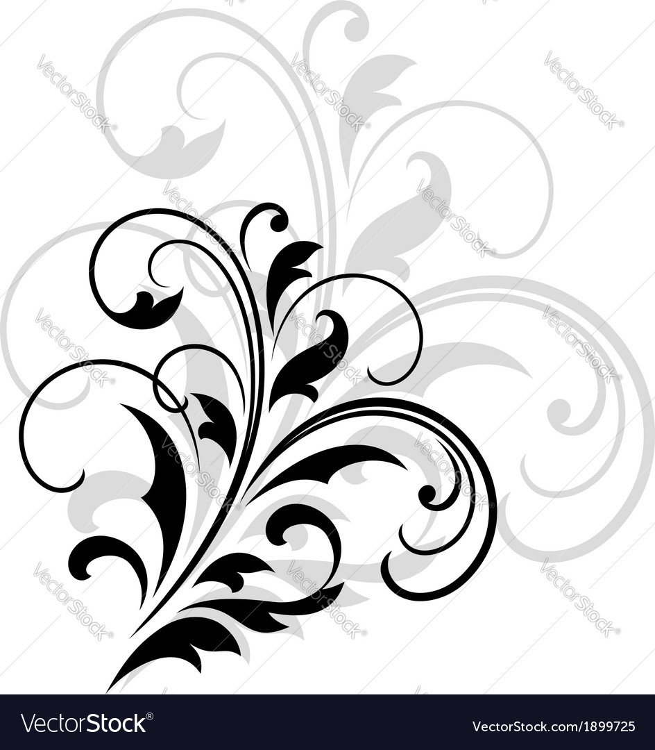 Swirling dainty foliate calligraphic design vector | Price: 1 Credit (USD $1)