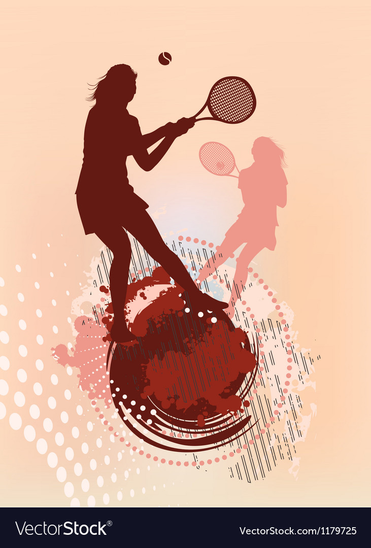 Tennis girl silhouette vector | Price: 1 Credit (USD $1)