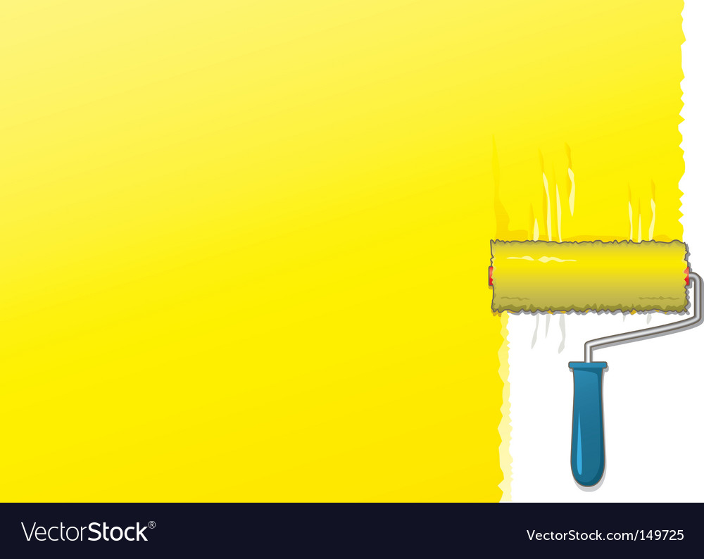 Yellow paint roller background vector | Price: 1 Credit (USD $1)