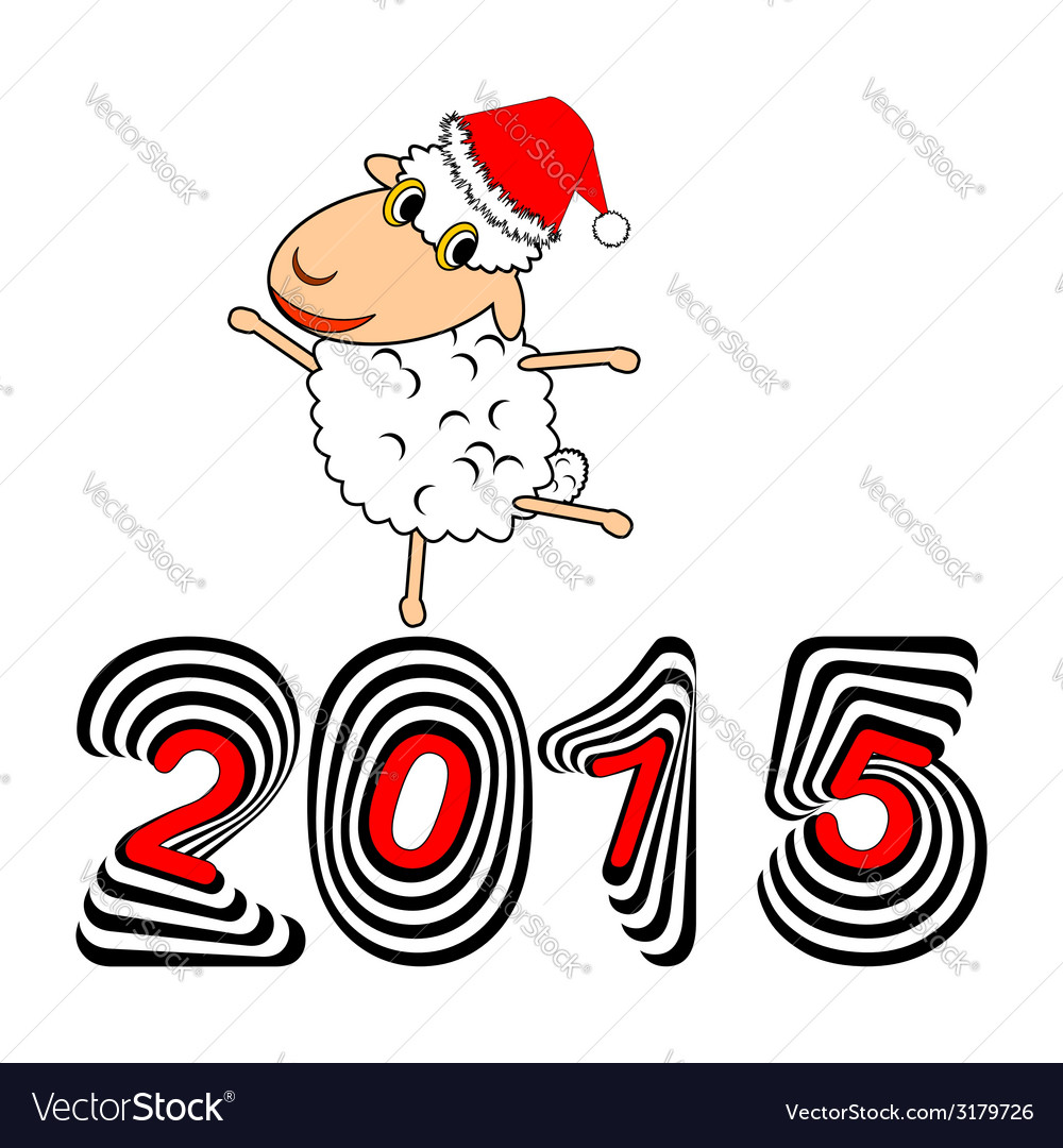 A funny christmas cartoon sheep vector | Price: 1 Credit (USD $1)