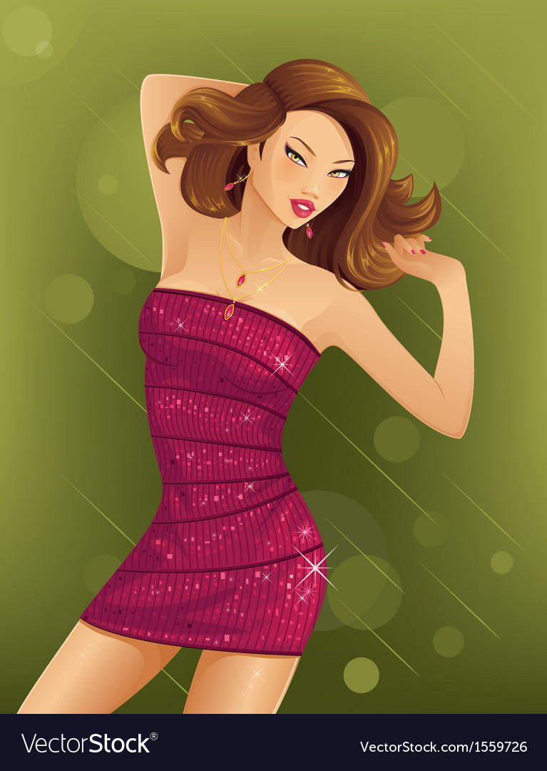 Beautiful woman dancing vector | Price: 3 Credit (USD $3)