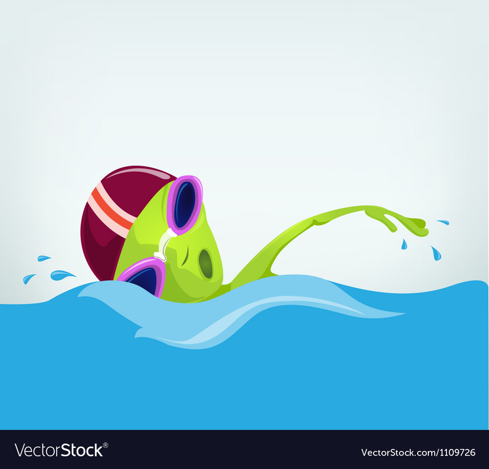 Cartoon alien swimmer vector | Price: 1 Credit (USD $1)